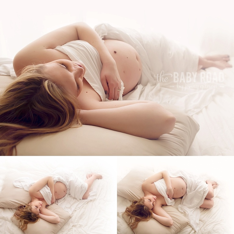 maternity-photo-on-white-bedding